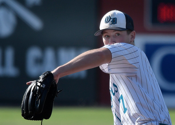 Oklahoma Drillers' Brandon Coontz delivers a pitch against Texas Phenom during the Connie Mack regional tournament Wednesday, July 17, 2019 at David Allen Memorial Ballpark. (Billy Hefton / Enid news & Eagle)