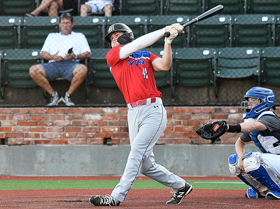 MVP's Racer Felter connects on a grand slam against 417 Mets during the Connie Mack South Plains Regional Friday, July 10, 2020 at David Allen Memorial Ballpark. (Billy Hefton / Enid News & Eagle)