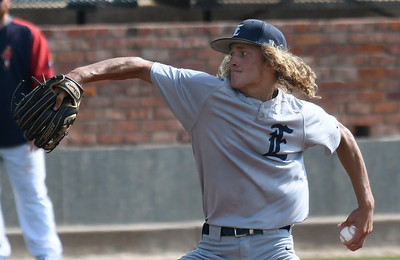 Enid Majors, Tate Taylor, delivers a pitch against Midwest Nationals during the Connie Mack South Plains Regional Tournament Saturday, July 11, 2020 at David Allen Memorial Ballpark. (Billy Hefton / Enid News & Eagle)