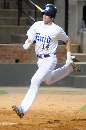 Enid Majors' Brandon Rakestraw scores during a game against the Hutchinson Cardinals at David Allen Memorial Ballpark. (Staff Photo by BONNIE VCULEK)