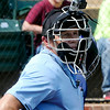 A home plate umpire wears a camera during the Connie Mack Regional Qualifing torunament Thursday at David Allen memorial Ballpark. (Staff Photo by BILLY HEFTON)