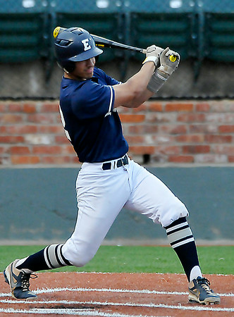 Enid's Christian Voitik connects on a RBI single against Bartlesville Friday at David Allen Memorial Ballpark. (Staff Photo by BILLY HEFTON)