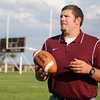 Gus Overstreet, Pioneer High School's new head football coach, appears on the Mustangs' football field after helping Pioneer win the OSSAA Class B State Runner-up trophy. Overstreet, who coached at Covington-Douglas the past two years, returns to his alma matter to restore the Mustang's winning tradition. (Staff Photo by BONNIE VCULEK)