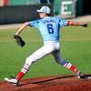 D-Bat Elite's Aaron Stramel delivers a pitch during the Connie Mack Regional Qualifier at David Allen Memorial Ballpark Sunday, June 21, 2015. Stramel got the 4-2 save over the Texas Stix 18's. (Staff Photo by BONNIE VCULEK)