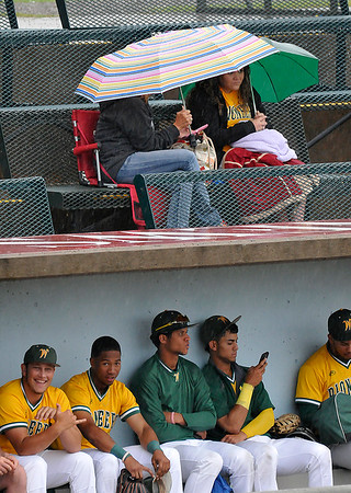 Western Oklahoma players and fans wait out a rain delay Wednesday June 1, 2016 during the NJCAA DII World Series at David Allen Ballpark. (Billy Hefton / Enid News & Eagle)