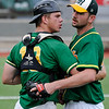 Mercer CC pitcher Andrew DiPiazza gets a hug from catcher Robert Boselli after a complete game win against Western Oklahoma Thursday June 2, 2016 during the NJCAA DII World Series at David Allen Ballpark. (Billy Hefton / Enid News & Eagle)