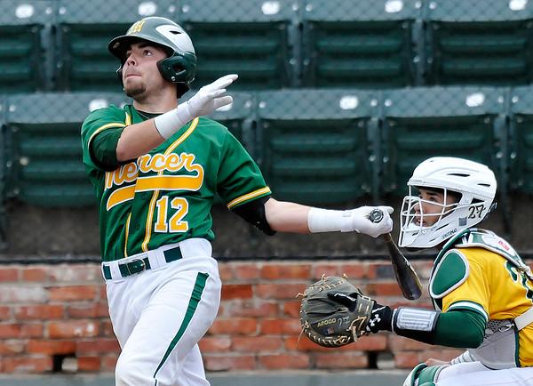 Mercer CC's Anthony Peroni hits a three run home run against Western Oklahoma Thursday June 2, 2016 during the NJCAA DII World Series at David Allen Ballpark. (Billy Hefton / Enid News & Eagle)