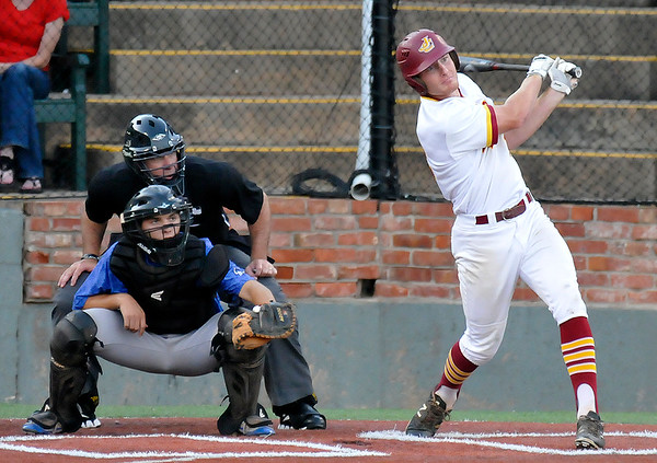 Jones County's Tanner Huddleston hits a double against Gateway CC during the NJCAA DII World Series at David Allen Ballpark June 3, 3016. (Billy Hefton / Enid News & Eagle)