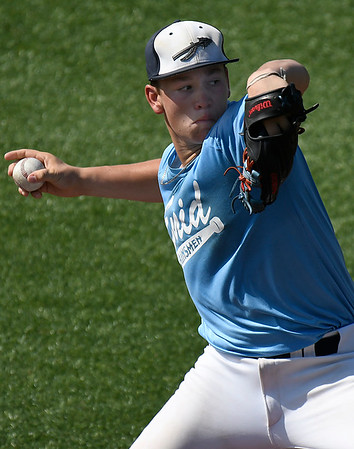 Enid Plainsmen, Braden Pierce, delivers a pitch against the Colorado Khaos Navy during the Connie Mack Regional Qualifing Tournament at David Allen Memorial Ballpark Thursday June 15, 2017. (Billy Hefton / Enid News & Eagle)