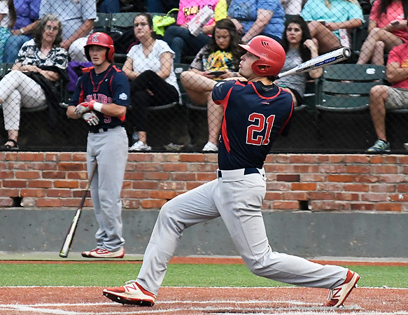 Kankakee CC's Dylan Dodd hits against Mercer CC in the 2017 NJCAA DII World Series Friday June 2, 2017 at David Allen Memorial Ballpark. (Billy Hefton / Enid News & Eagle)