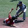 Enid Majors' Seth Graves tags out Colton Davis of Newton, Kansas June 29, 2017 at David Allen Memorial Ballpark. (Billy Hefton / Enid News & Eagle)