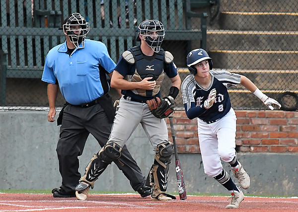 Enid Major's Connor Gore hits a RBI double against Bartlesville Friday June 22, 2018 at David Allen Memorial Ballpark. (Billy Hefton / Enid News & Eagle)