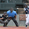 Enid Major's E.J. Taylor hits a double against Bartlesville Friday June 22, 2018 at David Allen Memorial Ballpark. (Billy Hefton / Enid News & Eagle)