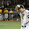 LSU Eunice's Slate Fuller wipes his brow following his walk off 2 run home run in the bottom of the 9th inning to give the Bengals a 5-3 victory over Parkland CC to win the 2018 NJCAA DII World Series Friday June 1, 2018 at David Allen Memorial Ballpark. (Billy Hefton / Enid News & Eagle)