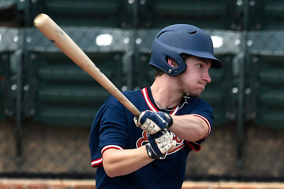 Nick Powlan of the Oklahoma Expos hits a single against the SW Shockers Black during the Connie Mack Regional Qualifing Tournament Friday June 15, 2018 at David Allen Memorial Ballpark. (Billy Hefton / Enid News & Eagle)