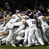 LSU Eunice players celebrate following their 5-3 victory over Parkland CC to win the 2018 NJCAA DII World Series Friday June 1, 2018 at David Allen Memorial Ballpark. (Billy Hefton / Enid News & Eagle)