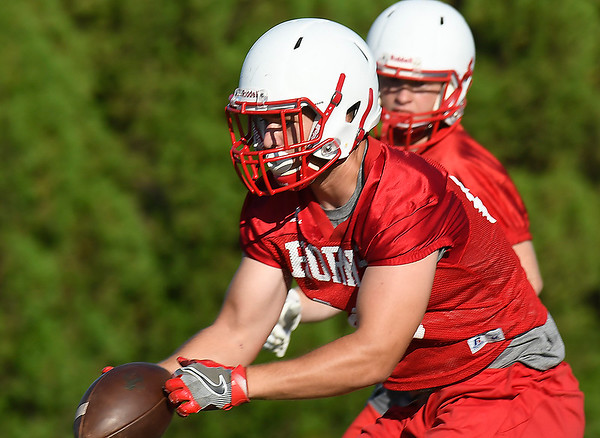 Chisholm's Noah Hann makes a catch during a 7 on 7 camp Thursday June 21, 2018 at Chisholm High School. (Billy Hefton / Enid News & Eagle)