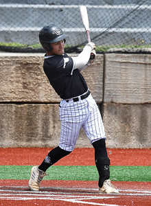 OK Sandlot Ballard's Zach Goodwin connects on base hit against Shockers Black Saturday, June 15, 2019, during the Connie Mack Regional qualifying tournament at NOC's Failing Field. (Billy Hefton / Enid News & Eagle)