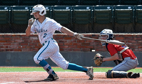 Oklahoma Drillers AAA's Gatlin Goodson gets a hit against MVP Blue during the Connie Mack Regional qualifying tournament Wednesday, June 12, 2019, at DavidAllen Memorial Ballpark. (Billy Hefton / Enid News & Eagle)