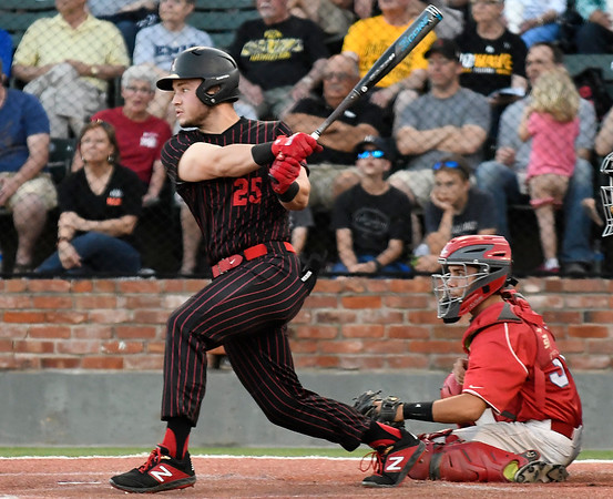 NOC Enid's Alec Buonasera drives in a run against Mesa CC during the NJCAA DII World Series national championship game Friday, May 31, 2019, at David Allen Memorial Ballpark. (Billy Hefton / Enid News & Eagle)