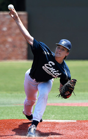 Enid Plainsmen's Blake Priest delivers a pitch against the Catalyst Cardinals Thursday, June 13, 2019, during the Connie Mack Regional qualifying tournament at David Allen Memorial Ballpark. (Billy Hefton / Enid News & Eagle)