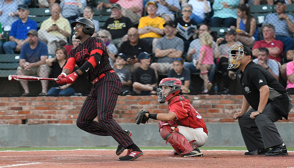NOC Enid's E.J. Taylor hits a home run against Mesa CC during the NJCAA DII World Series national championship game Friday, May 31, 2019, at David Allen Memorial Ballpark. (Billy Hefton / Enid News & Eagle)
