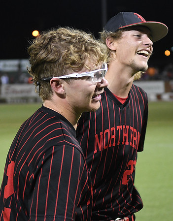 NOC Enid pitchers, Wyatt Sellers and Brandon Hudson, during the celebration of the Jets' 5-4 victory over Mesa CC to win the NJCAA DII national championship Friday, May 31, 2019, at David Allen Memorial Ballpark. (Billy Hefton / Enid News & Eagle)