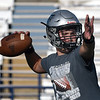 Timberlake's Ethan Jenlink throws a pass during a passing camp at Covington-Douglas High School Monday, June 21, 2020. (Billy Hefton / Enid News & Eagle)
