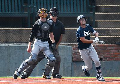 Enid Plainsmen's Garrett Brooks hits a RBI sacrifice fly against the Oklahoma Mudcats Wednesday, June 3, 2020 at David Allen Memorial Ballpark. (Billy Hefton / Enid News & Eagle)