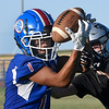 Waukomis' Domnic Doerson catches a pass during a passing camp at Covington-Douglas High School Monday, June 21, 2020. (Billy Hefton / Enid News & Eagle)