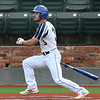 Enid Majors' Bryce Madron gets a base hit against Weatherford Monday, June 1, 2020 at David Allen Memorial Ballpark. (Billy Hefton / Enid News & Eagle)