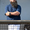 Enid Majors coach, Kris Webb, watches the action against Weatherford Monday, June 1, 2020 at David Allen Memorial Ballpark. (Billy Hefton / Enid News & Eagle)