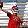 Kremlin-Hillsdale's Maddux Meyers throws a pass during a passing camp at Covington-Douglas High School Monday, June 21, 2020. (Billy Hefton / Enid News & Eagle)
