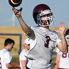 Pioneer's Ty Dennett throws a pass during a passing camp at Covington-Douglas High School Monday, June 21, 2020. (Billy Hefton / Enid News & Eagle)