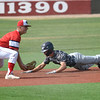Enid Plainsmen's Reese Slater dives in second with a stolen base Cherry Creek during the Connie Mack Regional Qualifier at David Allen Memorial Ballpark Saturday, June 20, 2020. (Billy Hefton / Enid News & Eagle)