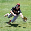Shockers Red's Tag Allen dives for a foul ball against Cherry Creek during the Connie Mack Regional Qualifer Thursday, June 18, 2020 at David Allen Memorial Ballpark. (Billy Hefton / Enid News & Eagle)