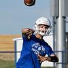 Covington-Douglas' Weston Carl throws a pass during a passing camp at Covington-Douglas High School Monday, June 21, 2020. (Billy Hefton / Enid News & Eagle)