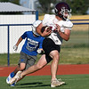 Pioneer's Dakota Wingo runs after making a catch during a passing camp at Covington-Douglas High School Monday, June 21, 2020. (Billy Hefton / Enid News & Eagle)