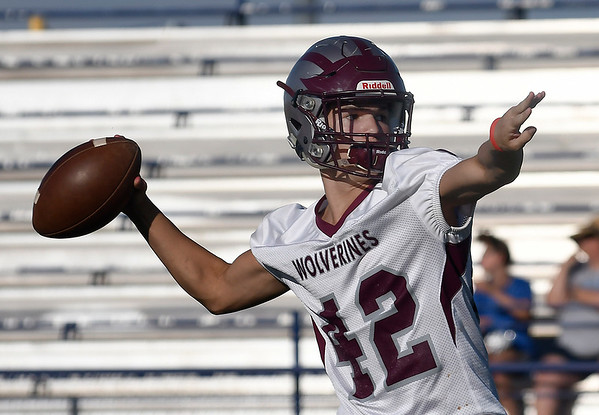 Garber's T.J. Bennett throws a pass during passing camp at Covington-Douglas High School Monday, June 21, 2020. (Billy Hefton / Enid News & Eagle)