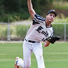 Enid Majors' Jacob Bookout delivers a pitch against the Shockers Black during the Connie Mack Regional Qualifier at David Allen Memorial Ballpark Saturday, June 20, 2020. (Billy Hefton / Enid News & Eagle)
