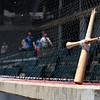 A broken bat sits on top the Shockers Red's dugout against Cherry Creek during the Connie Mack Regional Qualifer Thursday, June 18, 2020 at David Allen Memorial Ballpark. (Billy Hefton / Enid News & Eagle)