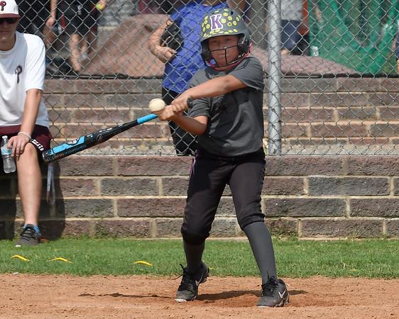 Kinsley Ramirez takes her swings during the Pioneer Baseball Camp Wednesday, June 9, 2021 at Pioneer High School. (Billy Hefton / Enid News & Eagle)