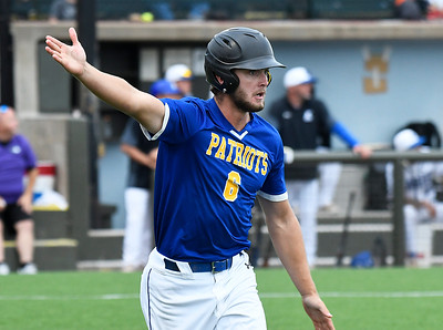 Patrick Henry CC's Taylor Reney rounds the bases after hitting a home run against Kirkwood CC during the NJCAA DII World Series at David Allen Memorial Ballpark. (Billy Hefton / Enid News & Eagle)