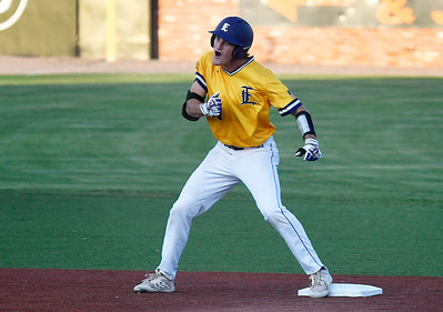 LSU Eunice's Brady Hebert pounds his chest after a bases clearing double against Western Oklahoma during the NJCAA DII World Series Friday, June 4, 2021 at David Allen Memorial Ballpark. (Billy Hefton / Enid News & Eagle)