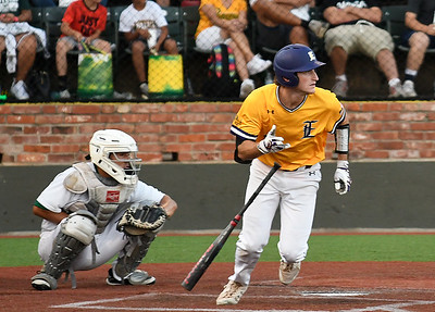 LSU Eunice's Brady Hebert heads to first with a bases clearing double against Western Oklahoma during the NJCAA DII World Series Friday, June 4, 2021 at David Allen Memorial Ballpark. (Billy Hefton / Enid News & Eagle)