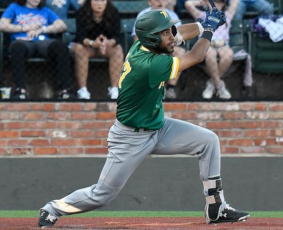 Western Oklahoma's Adonys Herrera gets a base hit against LSU Eunice during the NJCAA DII World Series June 3, 2021 at David Allen Memorial Ballpark. (Billy Hefton / Enid News & Eagle)