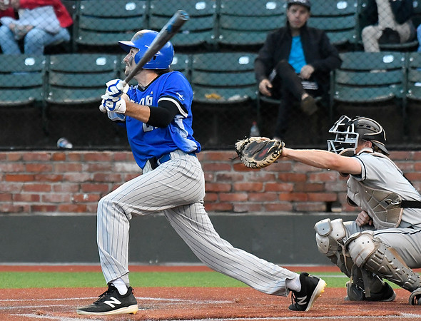 Kellogg CC's Connor Brawley hits a home run against Madison during the NJCAA DII World Series at David Allen Memorial Ballpark. (Billy Hefton / Enid News & Eagle)
