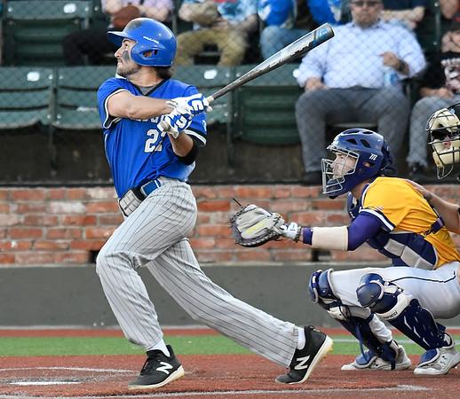 Kellogg's Connor Brawley hits a home run against LSU Eunice during the NJCAA DII World Series Wednesday, June 2, 2021 at David Allen Memorial Ballpark. (Billy Hefton / Enid News & Eagle)