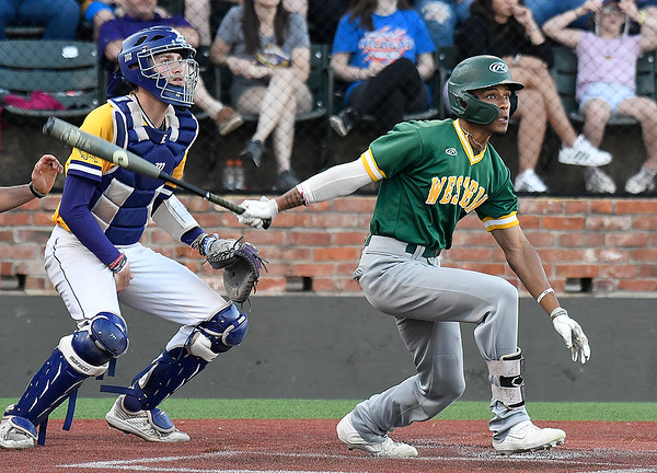 Western Oklahoma's Titi Jones hits a double against LSU Eunice during the NJCAA DII World Series June 3, 2021 at David Allen Memorial Ballpark. (Billy Hefton / Enid News & Eagle)