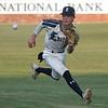 Enid Majors' Bryce Logan fields a bouncing ball against 3 Rivers during the Enid Festival at David Allen Memorial Ballpark Friday, June 11, 2021. (Billy Hefton / Enid News & Eagle)